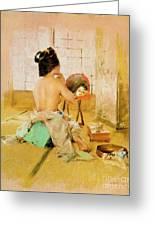 Geisha At Her Toilet Greeting Card