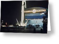 General Electric Pavilion At Night Greeting Card