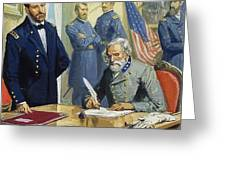 General Ulysses Grant Accepting The Surrender Of General Lee At Appomattox  Greeting Card by Severino Baraldi