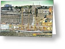 Genova Cruising And Sailing Ships And Buildings Landscape Greeting Card