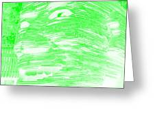 Gentle Giant In Negative Light Green Greeting Card