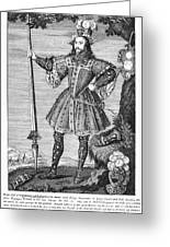 George Cumberland (1558-1605). George De Clifford Cumberland. 3rd Earl Of Cumberland. English Naval Commander And Courtier. Line Engraving, English, Early 19th Century Greeting Card