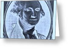 George Washington In Negative Cyan Greeting Card