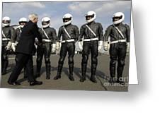 German Motorcycle Police Shake Hands Greeting Card by Stocktrek Images