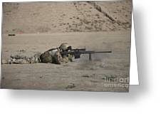 German Soldier Firing A Barrett M82a1 Greeting Card