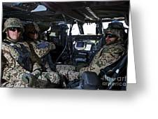 German Soldiers Seated In A Uh-60l Greeting Card