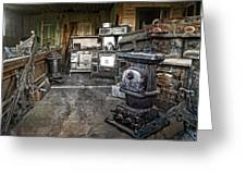 Ghost Town Stove Storage - Montana State Greeting Card