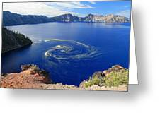 Giant Swirl Of Pollen At Crater Lake National Park  Greeting Card