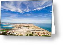 Gibraltar Airport Runway And La Linea Town Greeting Card