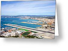 Gibraltar Runway And La Linea Cityscape Greeting Card