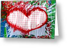 Gingham Crazy Heart Greeting Card