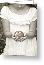 Girl And Apple Greeting Card