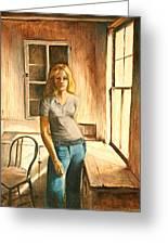 Girl At The Window Greeting Card by Rita Bentley