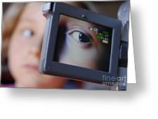 Girl Being Videotaped Greeting Card