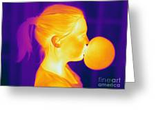 Girl Blowing A Bubble Greeting Card