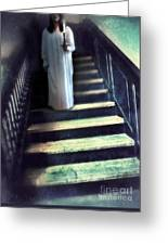 Girl In Nightgown On Steps Greeting Card