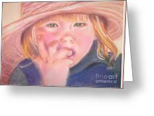 Girl In Straw Hat Greeting Card by Julie Brugh Riffey