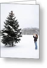 Girl Measuring Tree Height Greeting Card