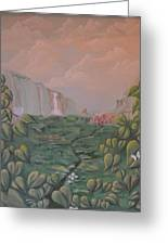 Girl On A Bluff Greeting Card