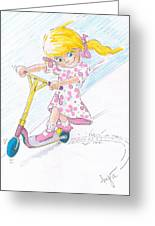 Girl On A Microscooter Cartoon Greeting Card