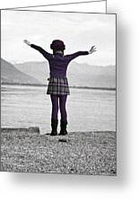 Girl On The Shores Of Lake Maggiore Greeting Card