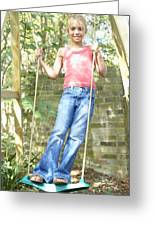 Girl Playing On A Swing Greeting Card