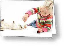 Girl Playing With Cat Greeting Card