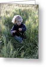 Girl Running In Wheat Field Greeting Card by Sami Sarkis