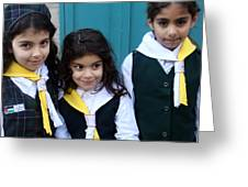 Girl Scouts At Orthodox Christmas Celebration Greeting Card
