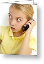 Girl Using Mobile Phone Greeting Card by Ian Boddy