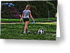 Girl Walking Dog Greeting Card by Paul Ward