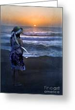 Girl Watching The Sun Go Down At The Ocean Greeting Card