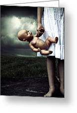 Girl With A Baby Doll Greeting Card