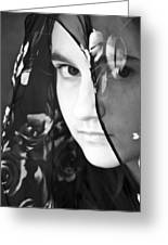 Girl With A Rose Veil 3 Bw Greeting Card