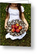 Girl With Apples Greeting Card