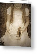 Girl With Books Greeting Card