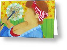 Girl With Fan Greeting Card