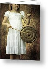 Girl With Gong Greeting Card