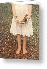 Girl With Old Books Greeting Card
