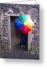 Girl With The Rainbow Umbrella At Mussendun Hall Greeting Card
