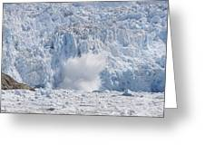 Glacial Ice Calving Into The Water Greeting Card