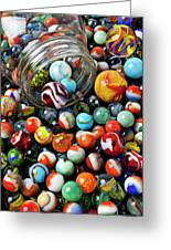 Glass Jar And Marbles Greeting Card
