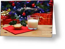 Glass Of Milk And A Mince Pie For Santa Greeting Card