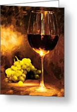 Glass Of Wine And Green Grapes By Candlelight Greeting Card