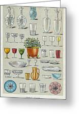 Glassware, Historical Artwork Greeting Card by Mid-manhattan Picture Collectionglassnew York Public Library