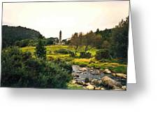 Glendalough Stream And Tower Greeting Card