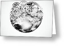 Globe With Cogs And Gears Greeting Card