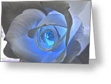 Glowing Blue Rose Greeting Card