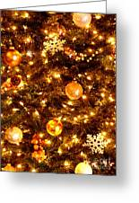 Glowing Golden Christmas Tree Greeting Card