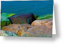 Goa Sea Front Rocks Greeting Card